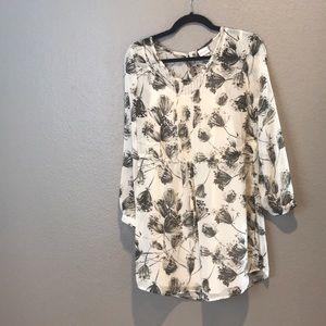 Foliage printed drawstring waist dress